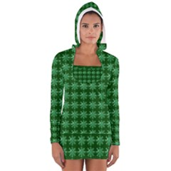 Snowflakes Square Women s Long Sleeve Hooded T Shirt