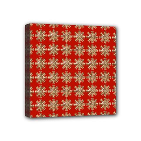 Snowflakes Square Red Background Mini Canvas 4  x 4