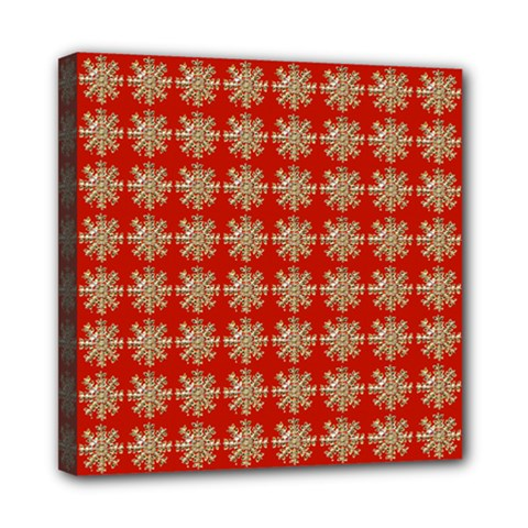 Snowflakes Square Red Background Mini Canvas 8  x 8