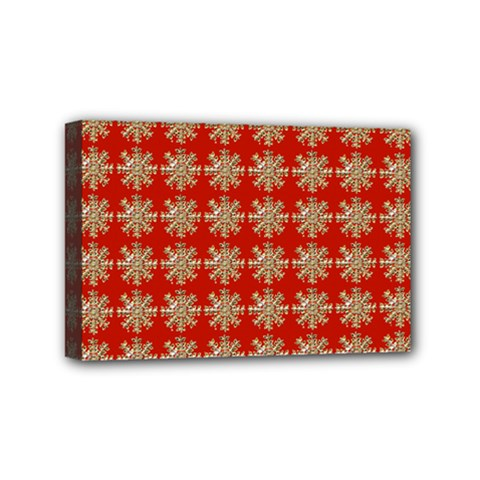 Snowflakes Square Red Background Mini Canvas 6  x 4