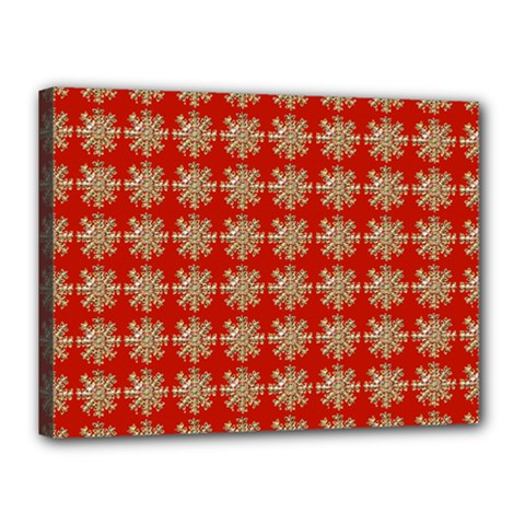 Snowflakes Square Red Background Canvas 16  x 12