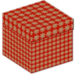 Snowflakes Square Red Background Storage Stool 12