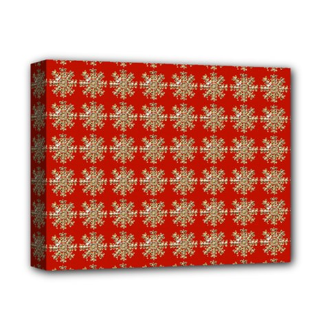 Snowflakes Square Red Background Deluxe Canvas 14  x 11