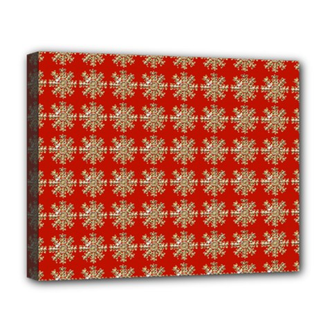 Snowflakes Square Red Background Deluxe Canvas 20  X 16