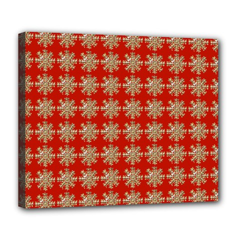 Snowflakes Square Red Background Deluxe Canvas 24  X 20