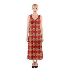 Snowflakes Square Red Background Sleeveless Maxi Dress