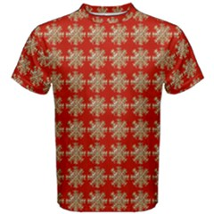 Snowflakes Square Red Background Men s Cotton Tee