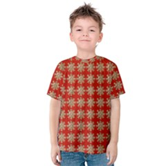 Snowflakes Square Red Background Kids  Cotton Tee