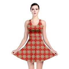 Snowflakes Square Red Background Reversible Skater Dress