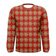 Snowflakes Square Red Background Men s Long Sleeve Tee