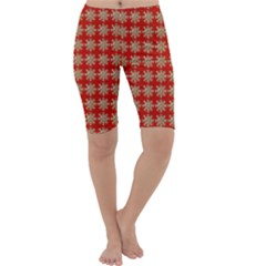 Snowflakes Square Red Background Cropped Leggings