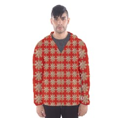 Snowflakes Square Red Background Hooded Wind Breaker (men)