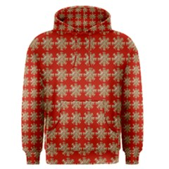 Snowflakes Square Red Background Men s Pullover Hoodie