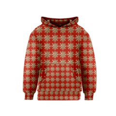 Snowflakes Square Red Background Kids  Pullover Hoodie