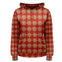 Snowflakes Square Red Background Women s Pullover Hoodie