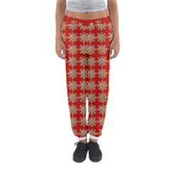 Snowflakes Square Red Background Women s Jogger Sweatpants
