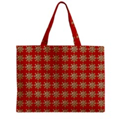 Snowflakes Square Red Background Zipper Mini Tote Bag