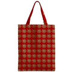 Snowflakes Square Red Background Zipper Classic Tote Bag