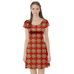 Snowflakes Square Red Background Short Sleeve Skater Dress