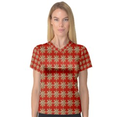 Snowflakes Square Red Background Women s V-Neck Sport Mesh Tee