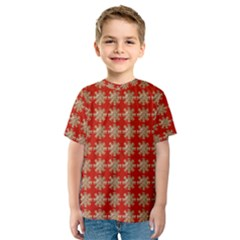 Snowflakes Square Red Background Kids  Sport Mesh Tee