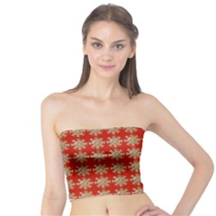 Snowflakes Square Red Background Tube Top
