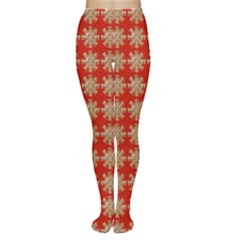 Snowflakes Square Red Background Women s Tights