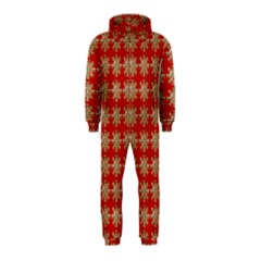 Snowflakes Square Red Background Hooded Jumpsuit (Kids)