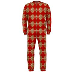 Snowflakes Square Red Background OnePiece Jumpsuit (Men)