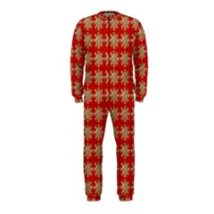 Snowflakes Square Red Background OnePiece Jumpsuit (Kids)