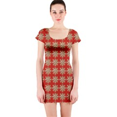 Snowflakes Square Red Background Short Sleeve Bodycon Dress