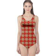 Snowflakes Square Red Background One Piece Swimsuit