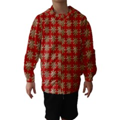 Snowflakes Square Red Background Hooded Wind Breaker (Kids)