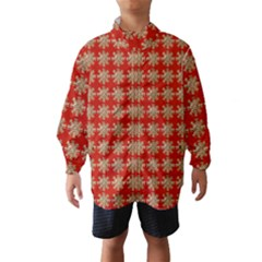 Snowflakes Square Red Background Wind Breaker (kids)