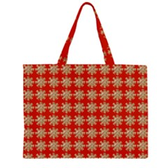 Snowflakes Square Red Background Large Tote Bag
