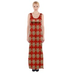 Snowflakes Square Red Background Maxi Thigh Split Dress