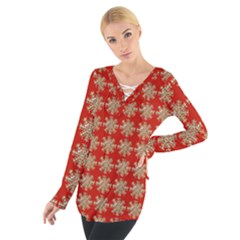 Snowflakes Square Red Background Women s Tie Up Tee