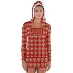 Snowflakes Square Red Background Women s Long Sleeve Hooded T-shirt