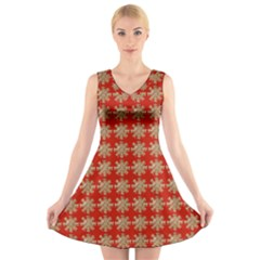 Snowflakes Square Red Background V Neck Sleeveless Skater Dress