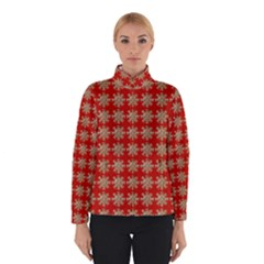 Snowflakes Square Red Background Winterwear