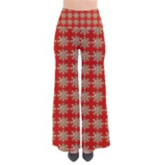 Snowflakes Square Red Background Pants