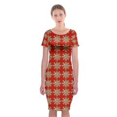 Snowflakes Square Red Background Classic Short Sleeve Midi Dress