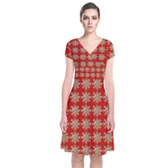 Snowflakes Square Red Background Short Sleeve Front Wrap Dress