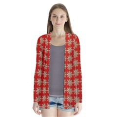 Snowflakes Square Red Background Cardigans