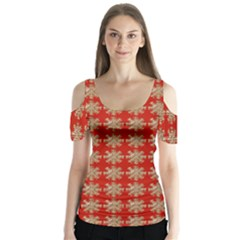 Snowflakes Square Red Background Butterfly Sleeve Cutout Tee