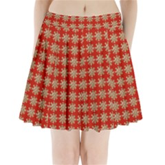 Snowflakes Square Red Background Pleated Mini Skirt
