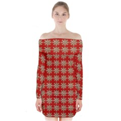 Snowflakes Square Red Background Long Sleeve Off Shoulder Dress