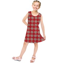 Snowflakes Square Red Background Kids  Tunic Dress
