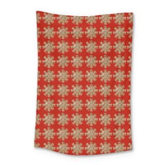 Snowflakes Square Red Background Small Tapestry