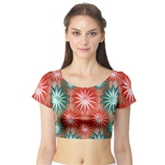 Star Pattern  Short Sleeve Crop Top (tight Fit)